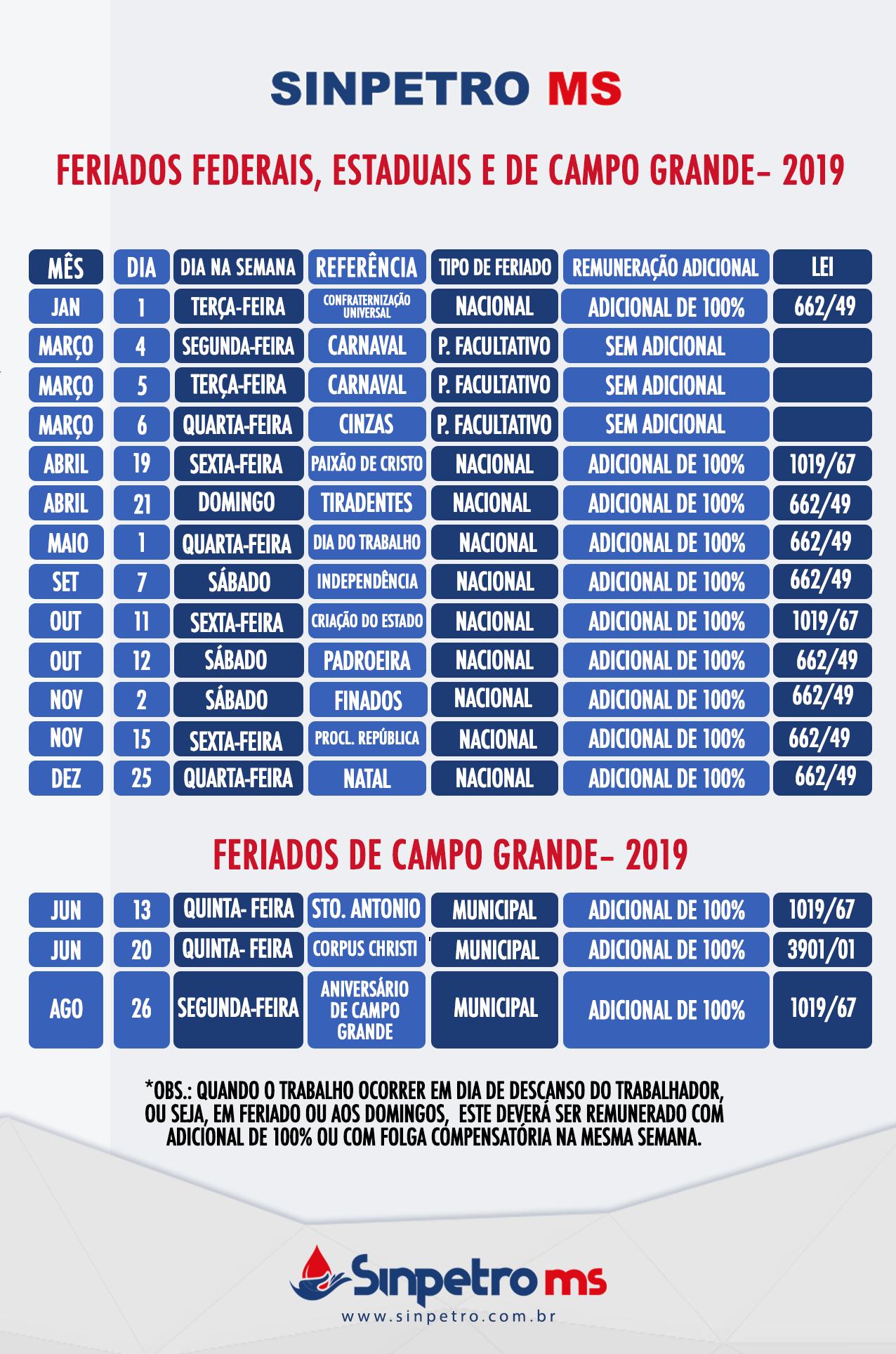 Calendario 2019 Campo Grande Ms.Calendario De Feriados Sinpetro Ms